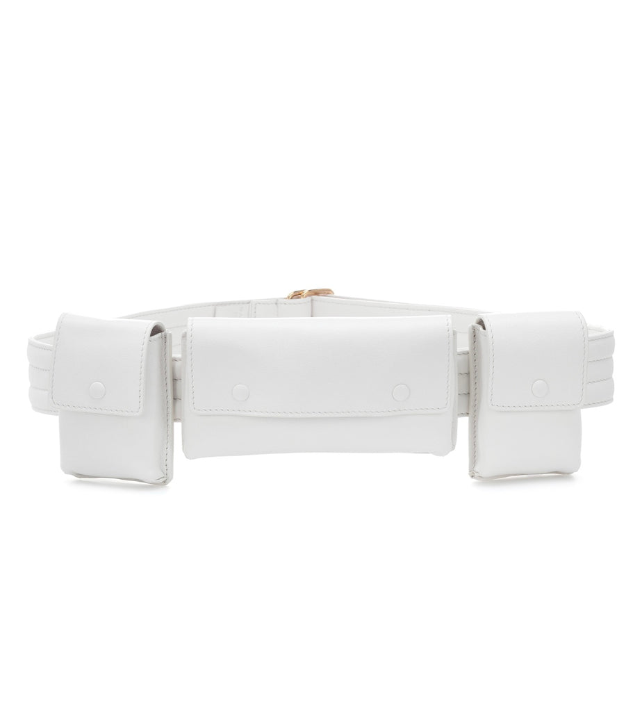 Gabriela Hearst White Leather Utility Belt Sz SM