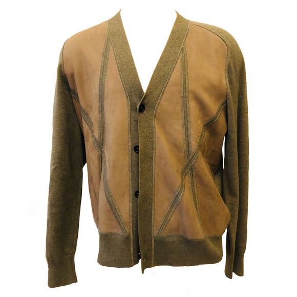 Louis Vuitton Leather Front Wool Sweater Cardigan Sz XXL