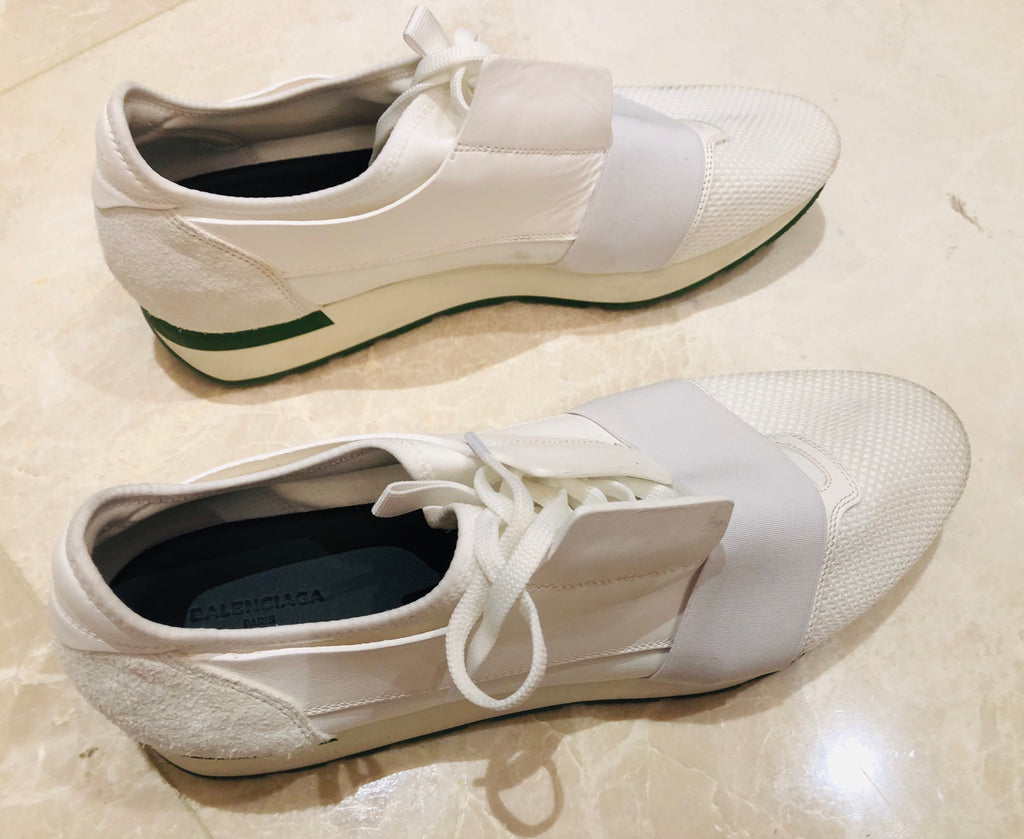 Balenciaga White Runner Race Sneakers Sz 45/12