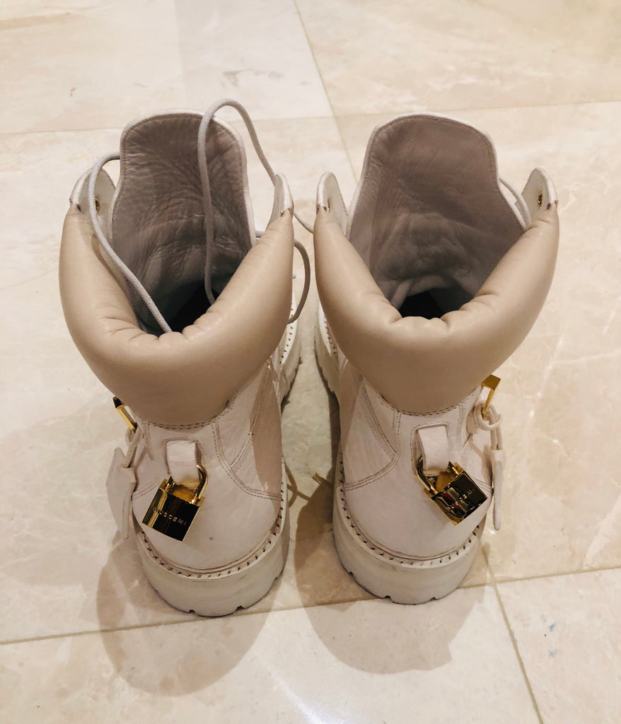 Buscemi Lace Up Leather Site Boots White Sz 45/12