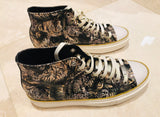 Roberto Cavalli Tiger Print High Top Sneakers Sz 44