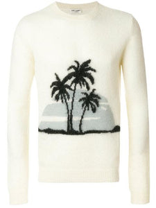 Saint Laurent YSL Palm Tree Mohair Sweater Sz L