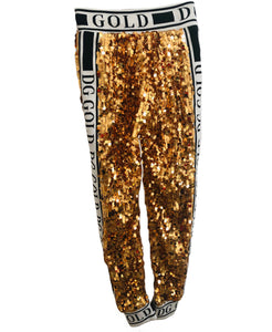 Dolce and Gabbana D&G Gold Sequin Jogger Pants Sz Sm