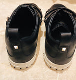 Valentino V Punk Black Leather Strap Sneakers  Sz 45