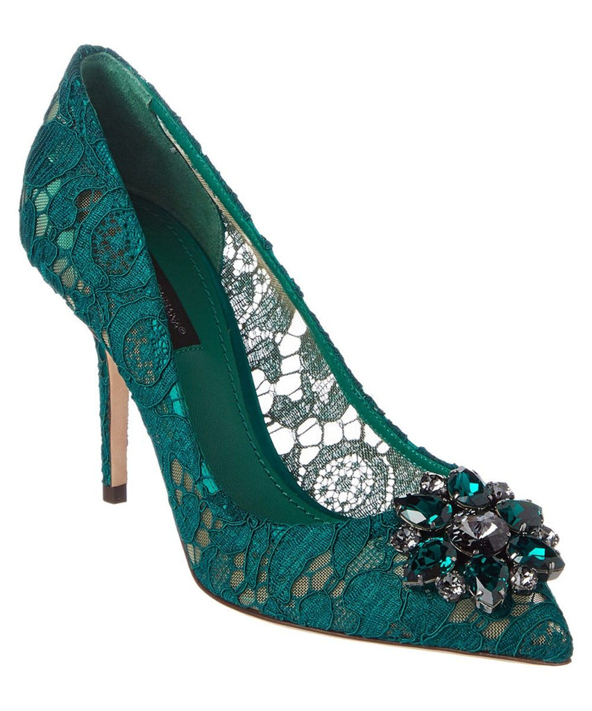 Dolce and Gabanna Belluci Green Lace Pumps Sz 38