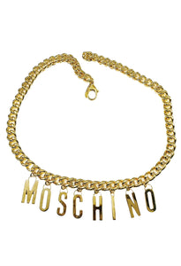 Moschino Gold Logo Chain Belt Sz Sm