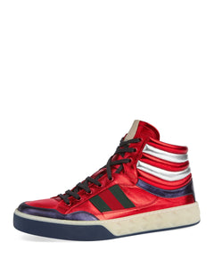 Gucci Red Metallic Leather High Top Sneakers Sz 12