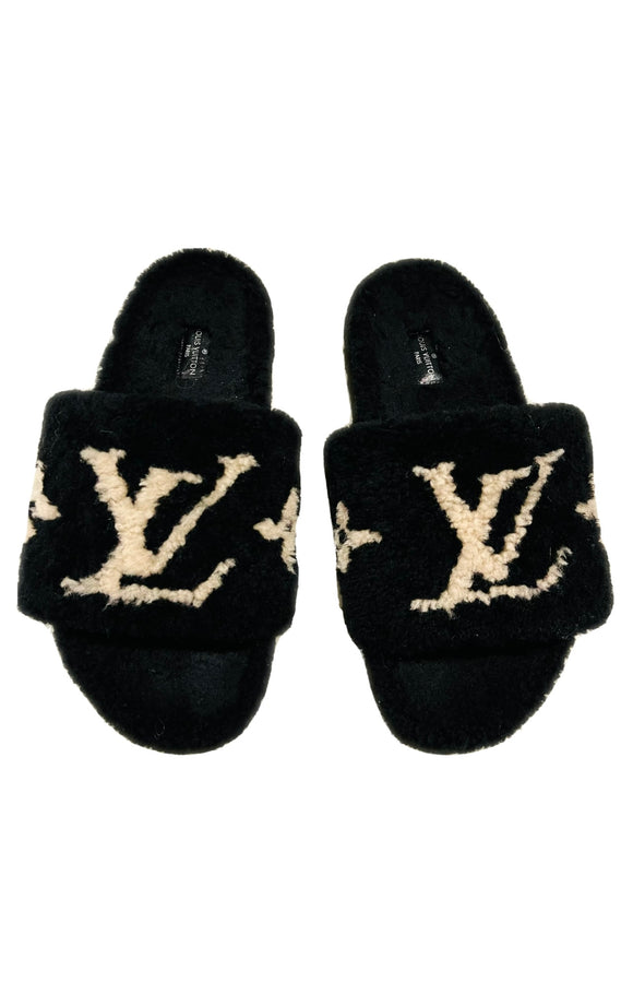 Louis Vuitton Black Shearling Fur Logo Slides Sz 38.5