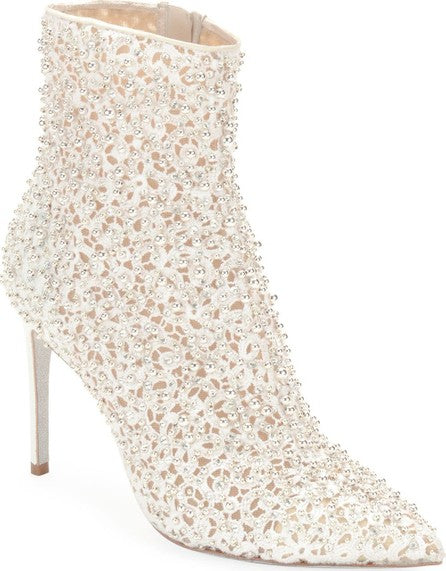 Rene Caovilla Embellished White Beaded Boots Sz 38.5