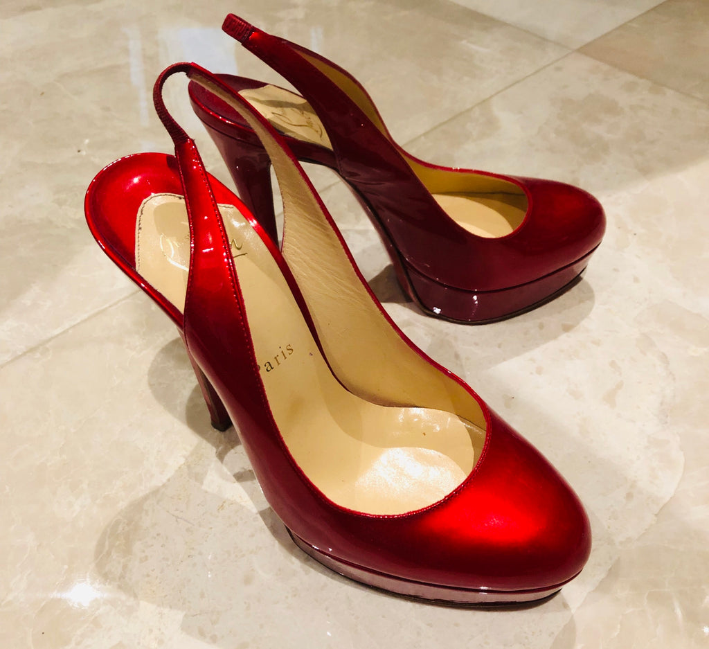 CHRISTIAN LOUBOUTIN Red Slingback Platform Pumps Sz 38.5