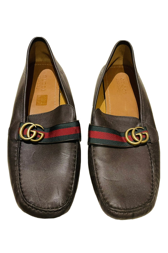 Gucci Brown Leather GG Web Loafers Sz 12