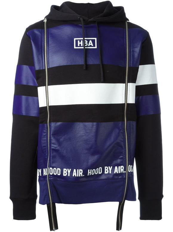Hood By Air HBA Blue Striped Hoodie Top Jacket Sz XL