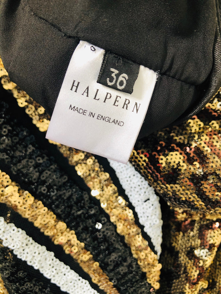 HALPERN MIXED SEQUIN-STRIPED & LEOPARD COMBO JUMPSUIT