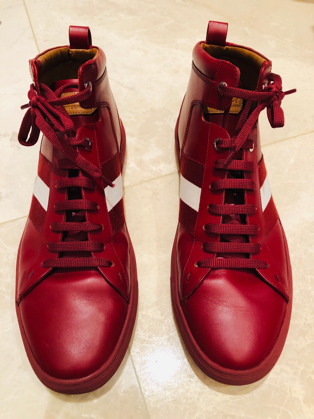 Bally Oldani Red Leather High Top Sneakers Sz 11/12
