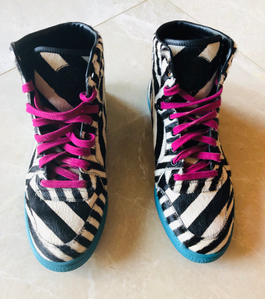 Gucci Zebra-Print Calf Hair High-Top Sneaker Sz 7.5/37.5
