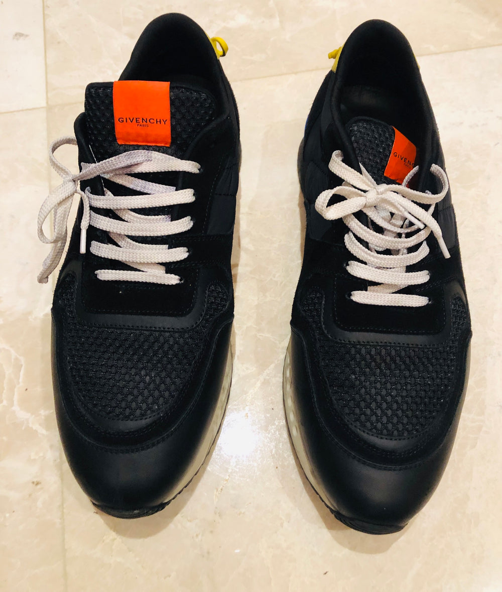 Givenchy Black Runner Nylon Suede Sneakers Sz 12/45