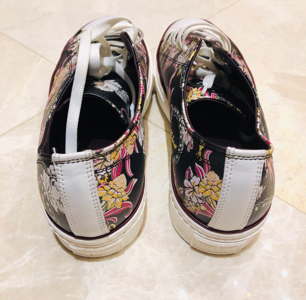 Roberto Cavalli Floral Low Leather Sneakers Sz 44
