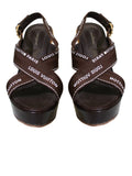 Louis Vuitton Brown Wedge Tulipe Sandals Sz 38