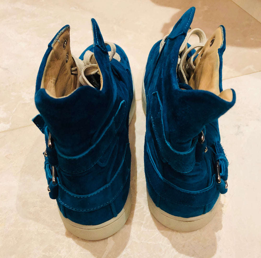 Christian Louboutin Blue Suede Buckle Sneakers Sz 45.5