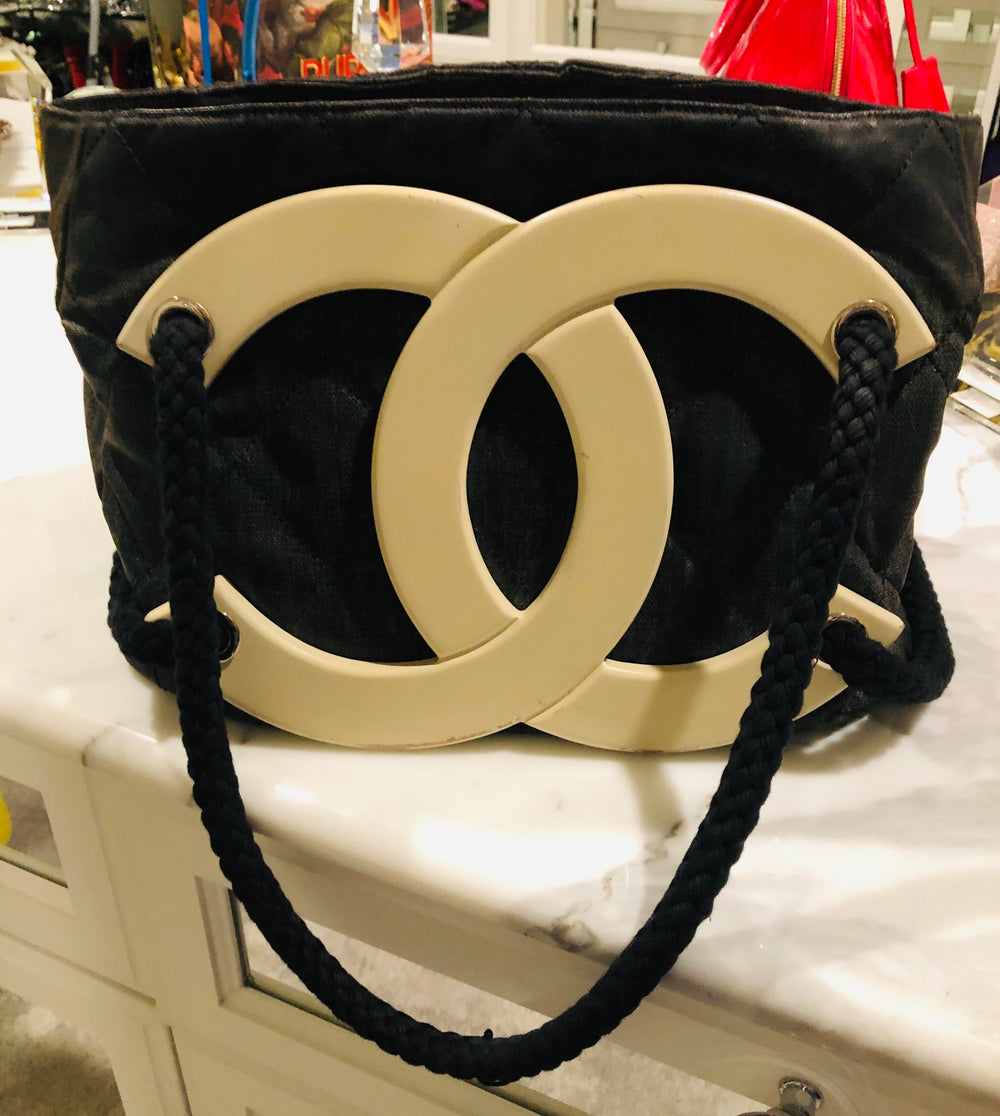 Chanel Limited Edition Cruise Black Coated Canvas Logo Tote