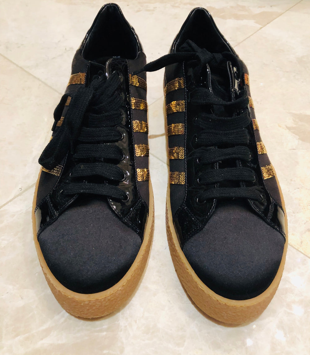 Dsquared2 Sequin Low Black/Gold Sneakers Sz 45/12