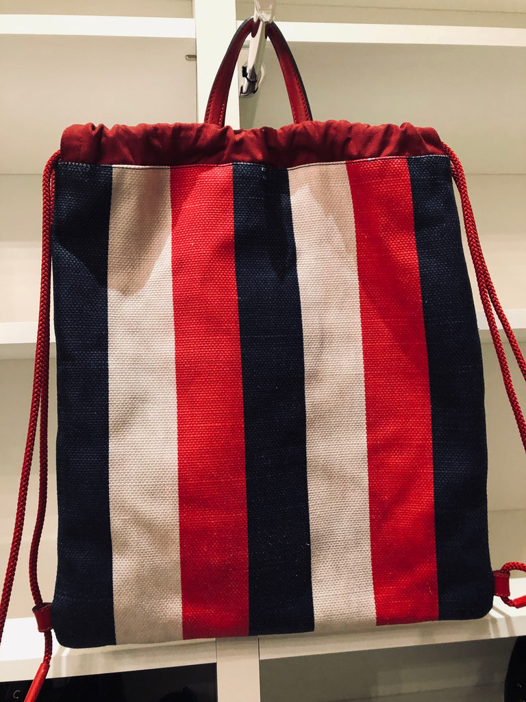 Gucci Striped Drawstring Back Pack