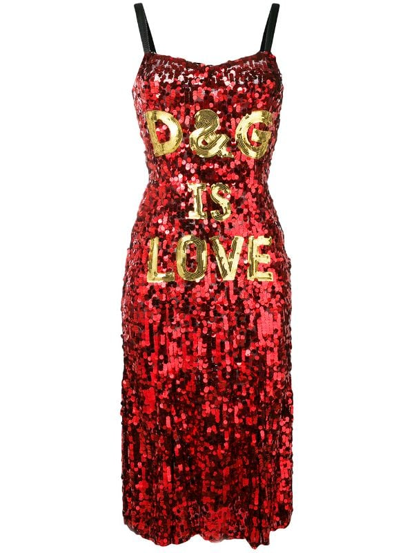 Dolce and Gabbana D&G Red Sequin Love Dress