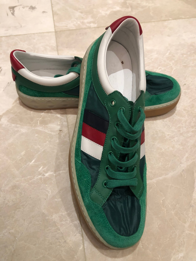 Gucci Green Nylon and Suede Sneakers  Sz 12.5