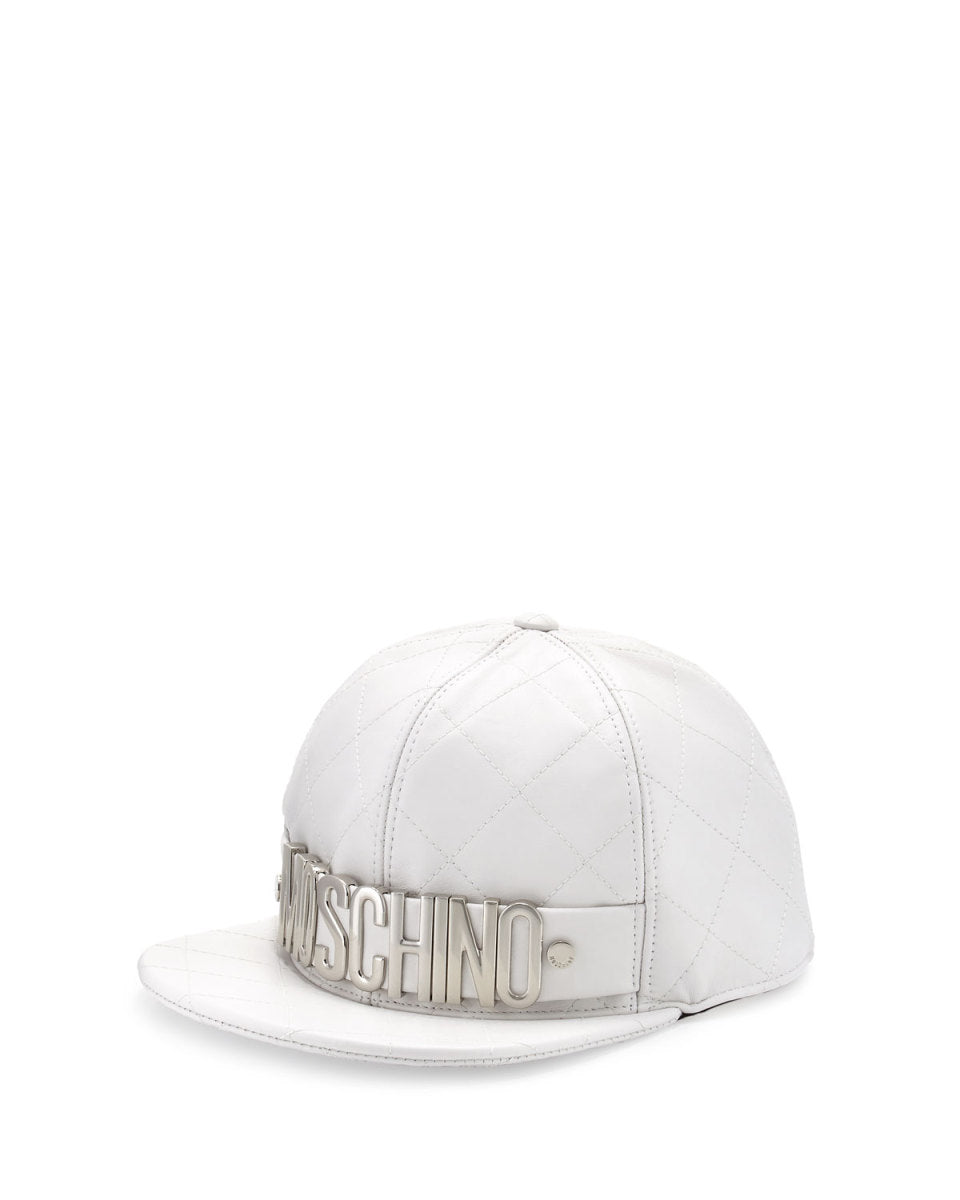 Moschino White Leather Quilted Logo Hat Sz M