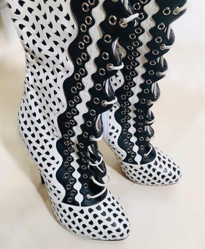 Versace Perforated Laced Mid Calf Boots Sz 39