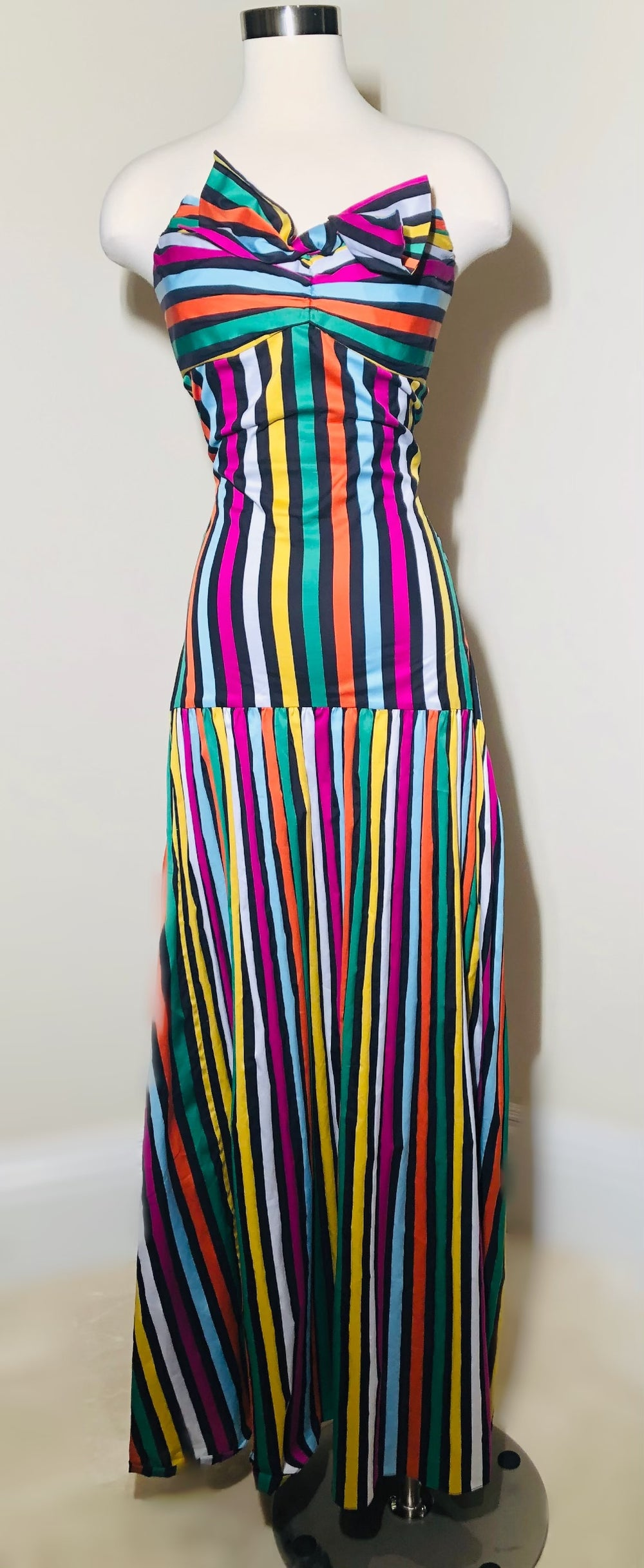 Caroline Constas Striped Multicolored Maxi Dress Sz Sm