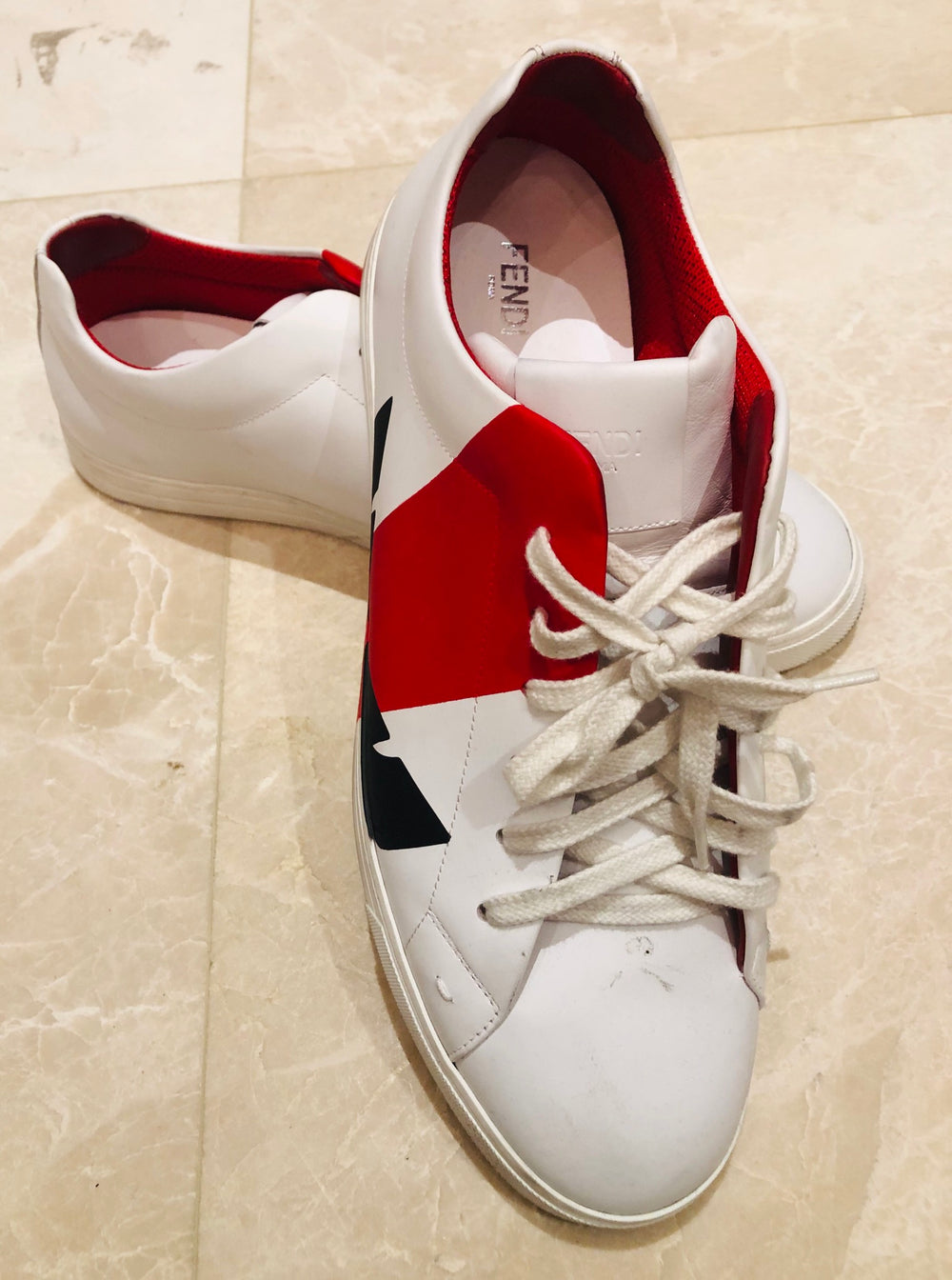 Fendi Bag Bugs Red/White Sneakers Sz 12