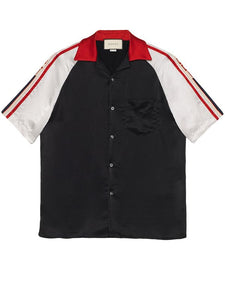 Gucci Stripe Logo Black Bowling Shirt Sz 52