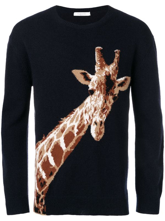 Valentino Giraffe Wool Sweater Sz XL