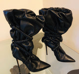 Alexandre Vauthier Dune Black Leather Ankle Boots Sz 7.5