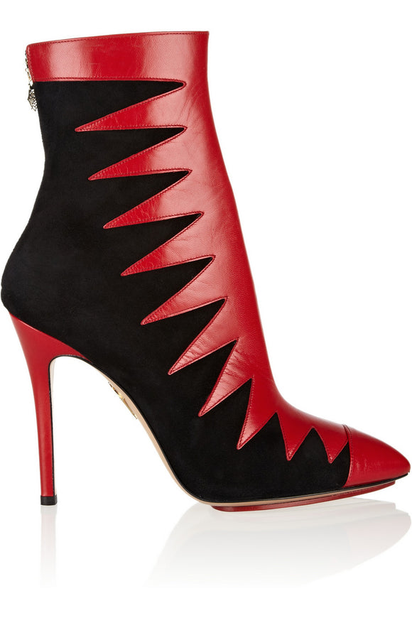 Charlotte Olympia Hazel Red/ Black Ankle Boots Sz 38.5
