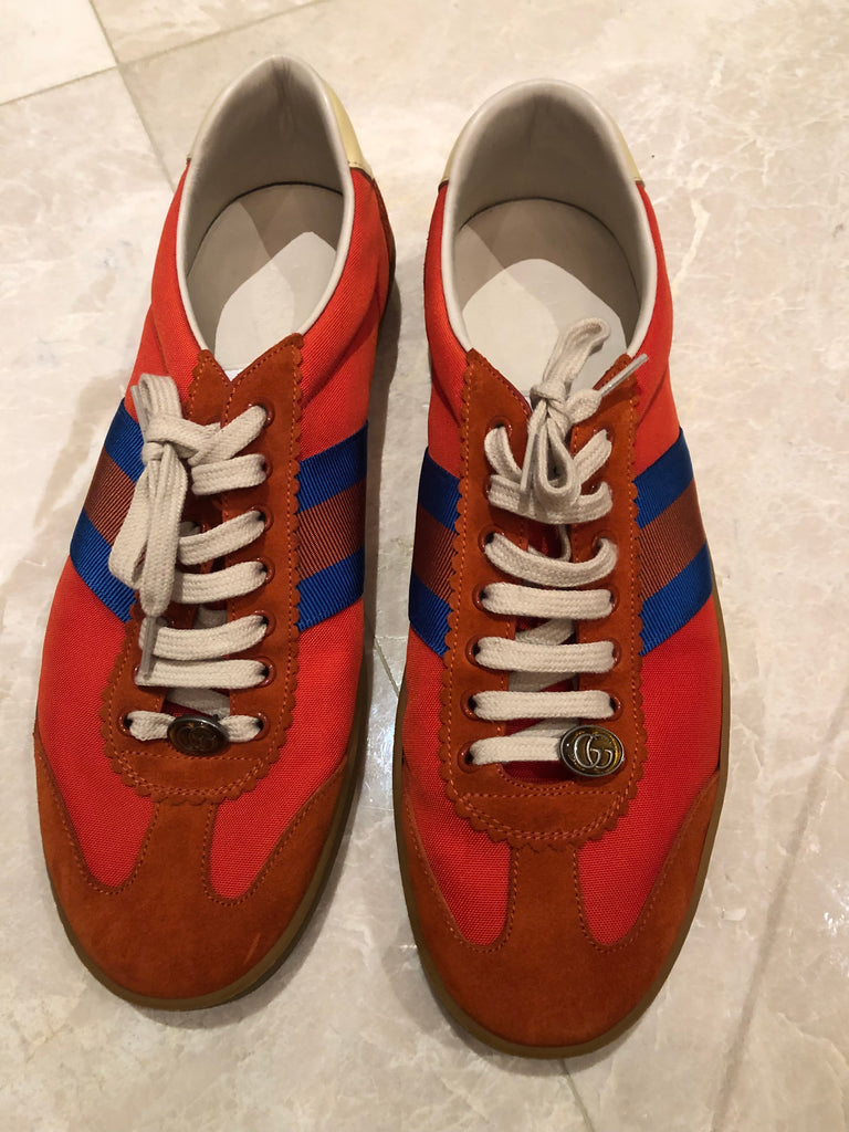 Gucci Red Nylon and Suede Sneakers Sz 12