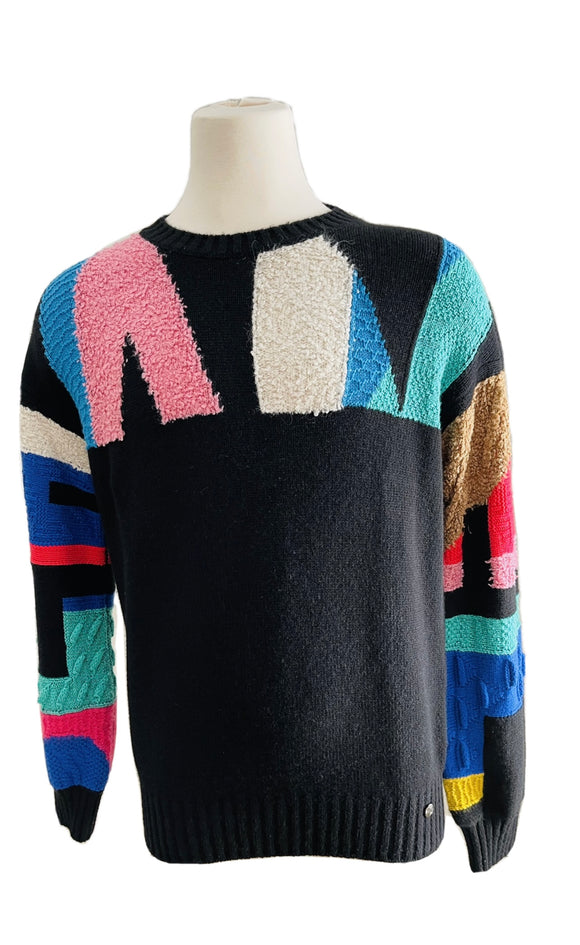 Chanel Cashmere Logo Multicolored Sweater Sz 50