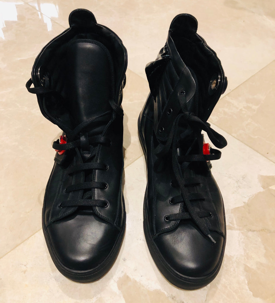 RAF Simons Black Leather High Top Sneakers Sz 12/45