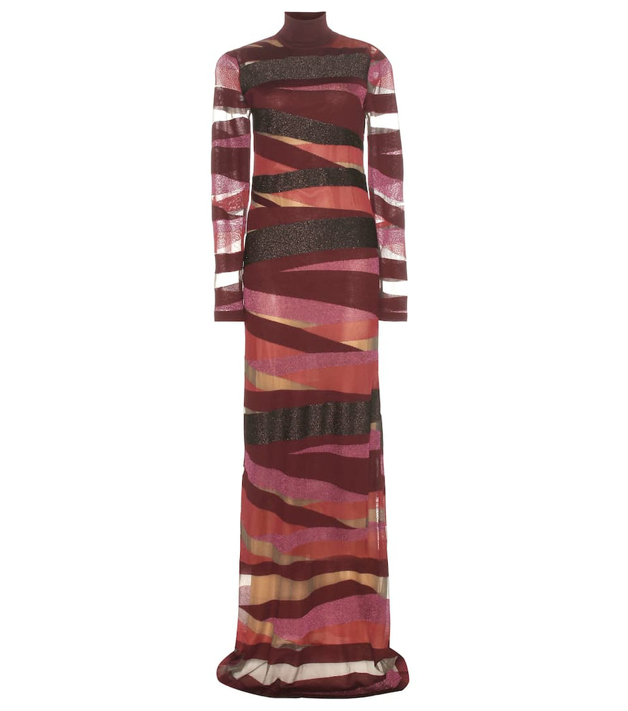 Emilio Pucci Burgundy Bandage Sheer Long Dress Sz Sm