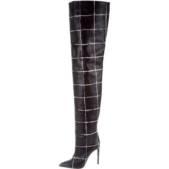 Balenciaga Black/White Thigh Boots Sz 39