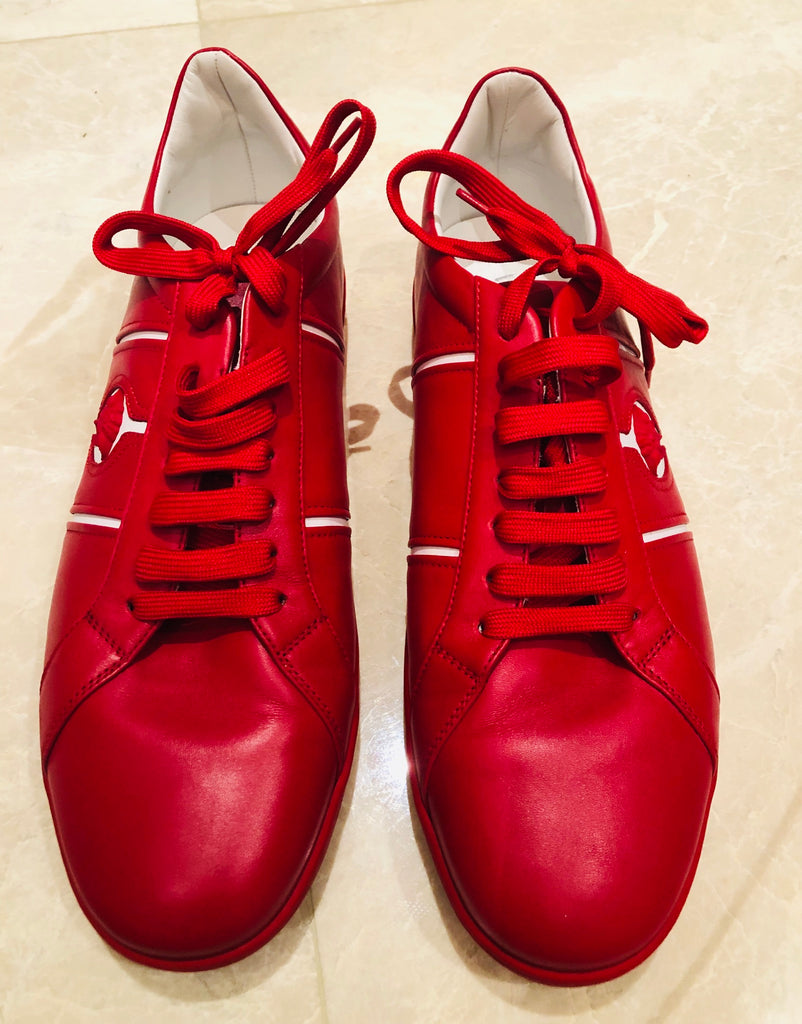 Versace Red Leather Low Martin Sneakers Sz 12/45