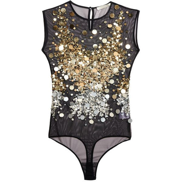 Amen Gold Sequin Mesh Black Bodysuit Sz Sm