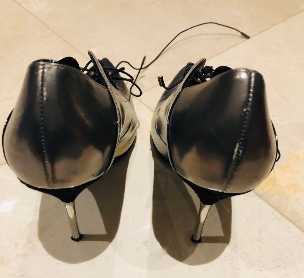 Giuseppe Zanotti Gray Metallic Laced Shoes Sz 38