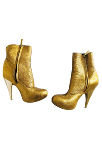 Giuseppe Zanotti Gold Leather Ankle Boots Sz 38