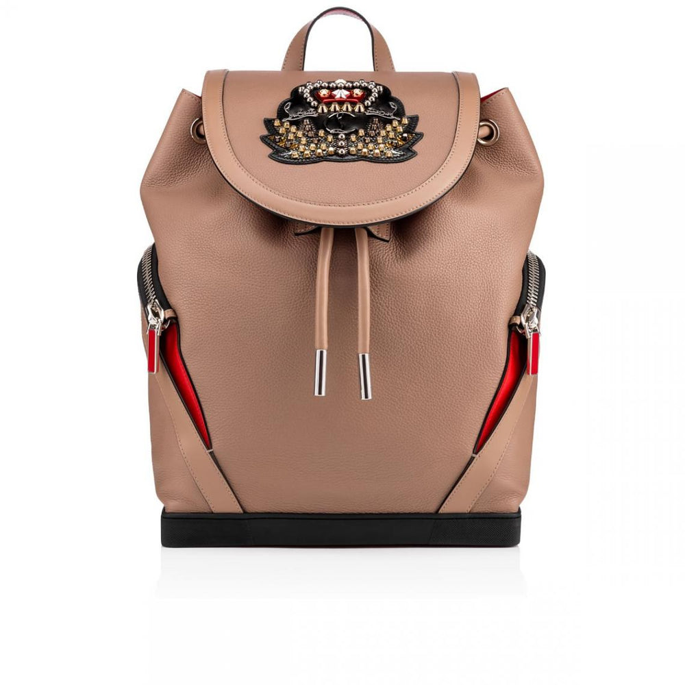 Christian Louboutin Explorafunk Studded Taupe Leather Backpack