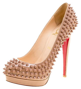 CHRISTIAN LOUBOUTIN Alti Spike Nude Pumps 38.5