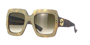 Gucci Havana Strass  Gold Sunglasses