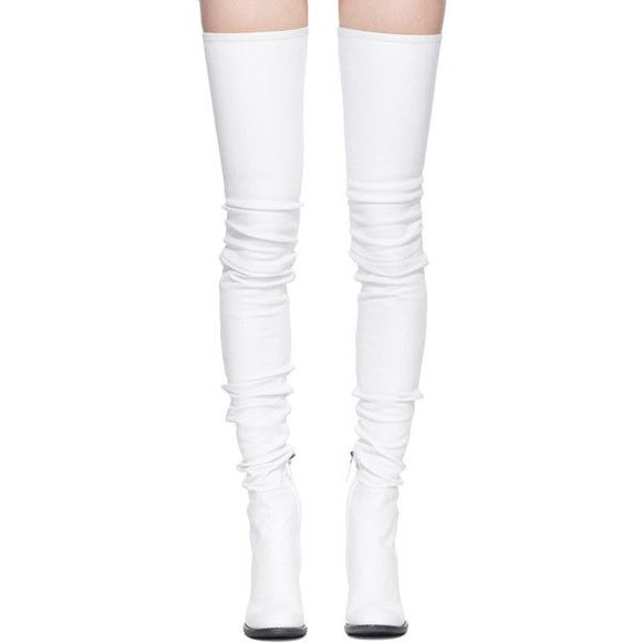 Haider Ackermann White Leather Thigh-High Stiletto Boots Sz 38
