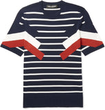 Neil Barrett SLIM-FIT STRIPED KNITTED T-SHIRT Sz XL